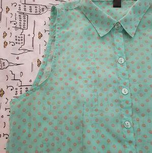 Poke-a-dot button up blouse